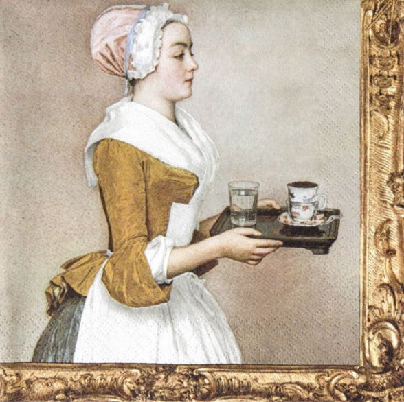 Lady with Tray 33 X 33 cm