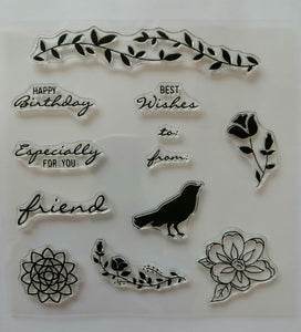 Clear Stamp - Wishes - 5.5 X 5.5 Inches, 12 Pieces
