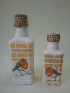 Decoupage Bottle - Small set of 2