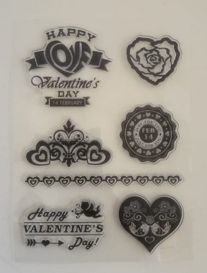 Clear Stamp - Valentine 4.5 X 6.5 Inches, 7 Pieces