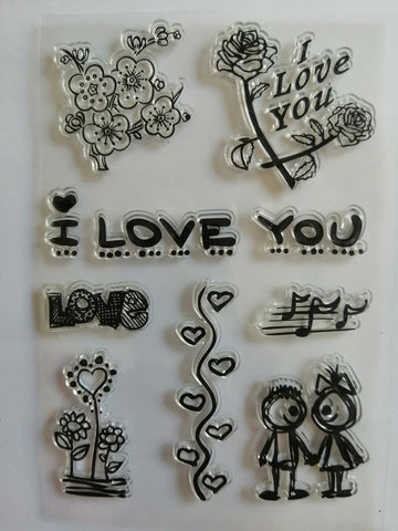 Clear Stamp - I Love You 4.5 X 6.5 Inches, 10 Pieces