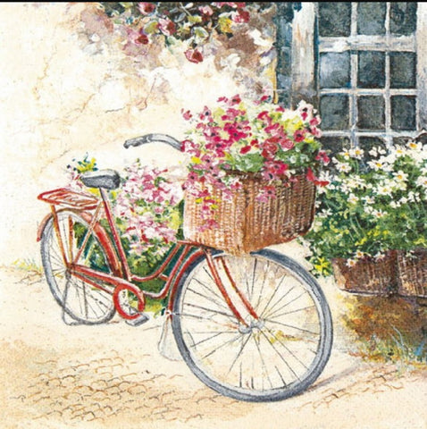 Bicycle with Flowers 33 X 33 cm