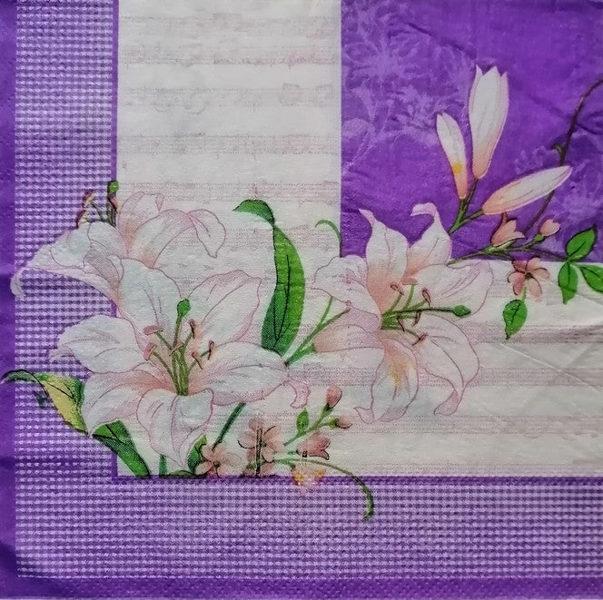 Flowers and Purple Base 33 X 33 cm