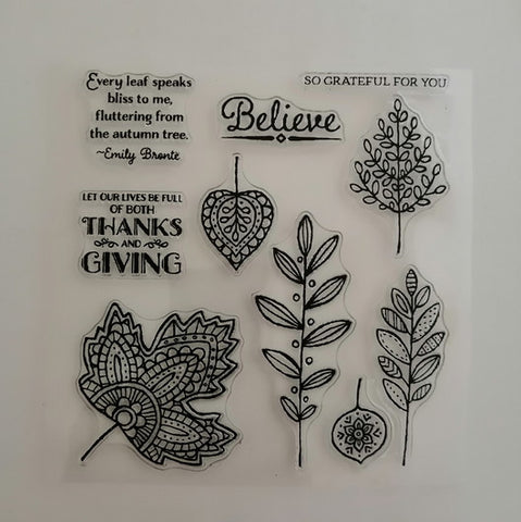 Clear Stamp - Thanks Giving 5.5 X 5.5 Inches, 10 Pieces