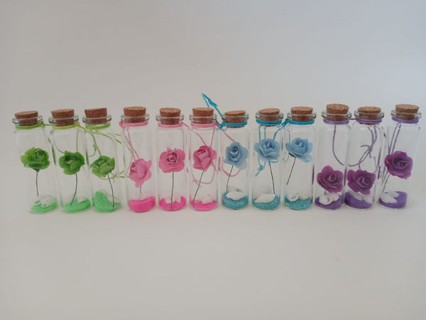 Glass Message Bottle - Flower - 12 Pieces