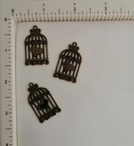 Metal Charms - Cage with Heart, 3 Piece