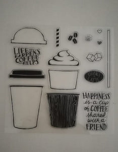 Clear Stamp - Coffee 5.5 X 5.5 Inches, 16 Pieces
