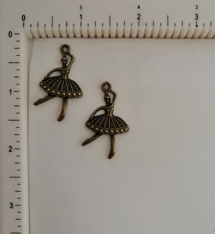 Metal Charms - Dancing Doll -1, 2 Piece