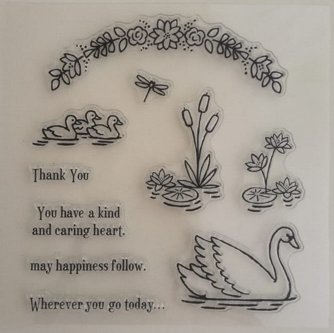 Clear Stamp - Duck n Flowers 5.5 X 5.5 Inches, 10 Pieces