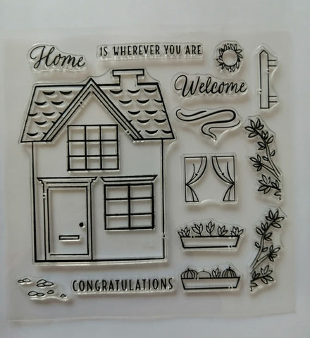 Clear Stamp - Home 5.5 X 5.5 Inches, 14 Pieces