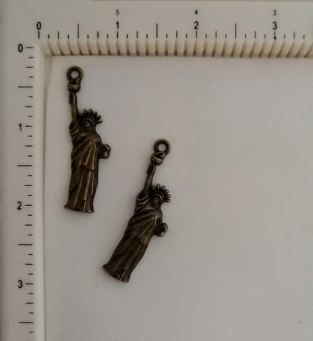 Metal Charms - Statue of Liberty, 2 Piece