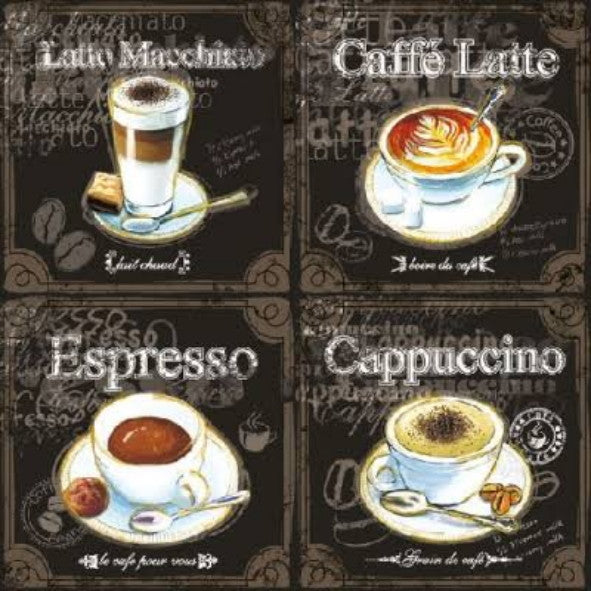 Types of Coffee 33 X 33 cm