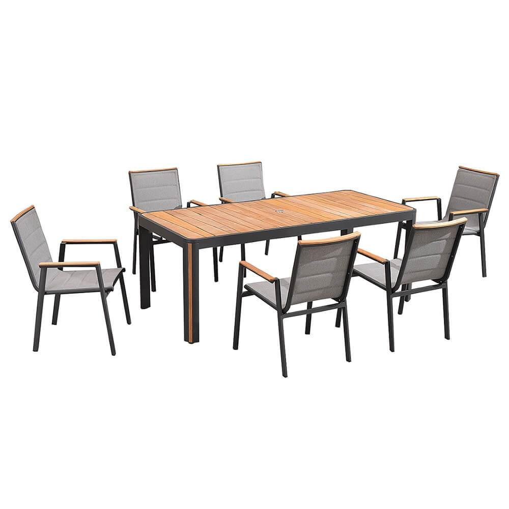Madrid 7 Piece Dining Set In Charcoal Free Shipping And Easy Returns Alma Outdoor
