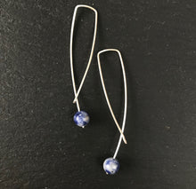 Load image into Gallery viewer, Geo earrings - blue agate