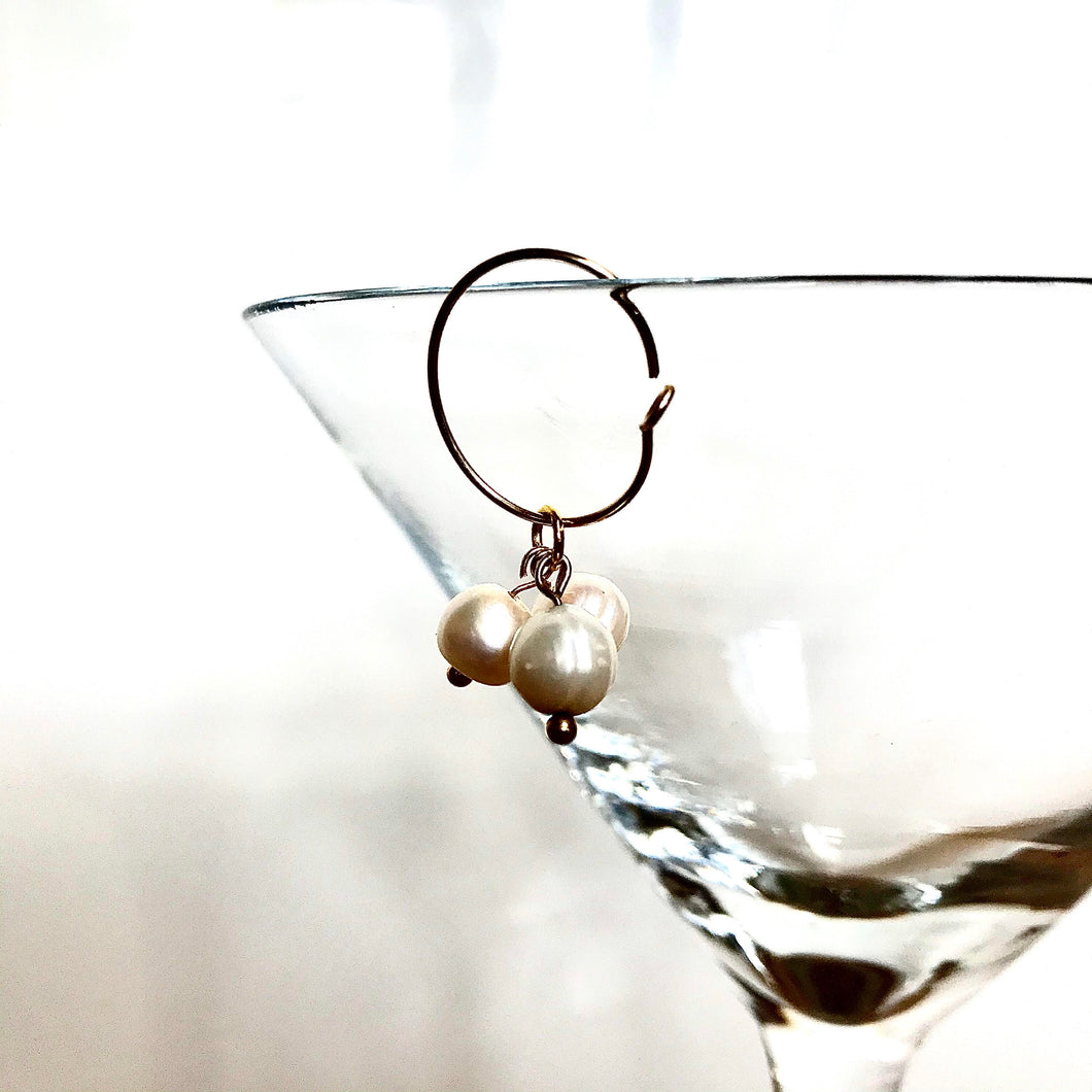Triple Pearl Mini Hoop Earring