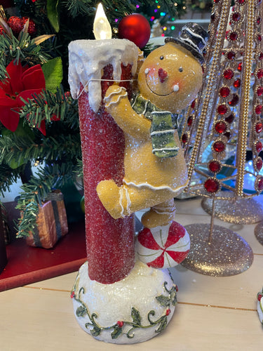 Gingerbread or Snowman Candle by Valerie