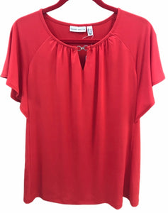 Susan Graver Liquid Knit Flutter Sleeve Top - Large