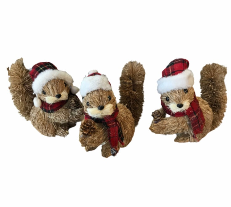 Set of 3 Sisal Plaid Squirrels