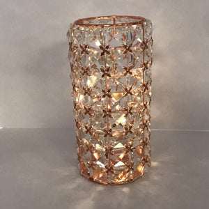 Illuminated Rose Gold Faceted Gem Hurricane by Valerie - Outlet Express