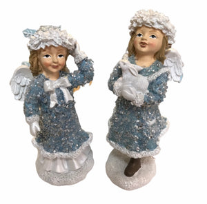 "Set of (2) 7"" Glistening Winter Angel Figurines by Valerie"