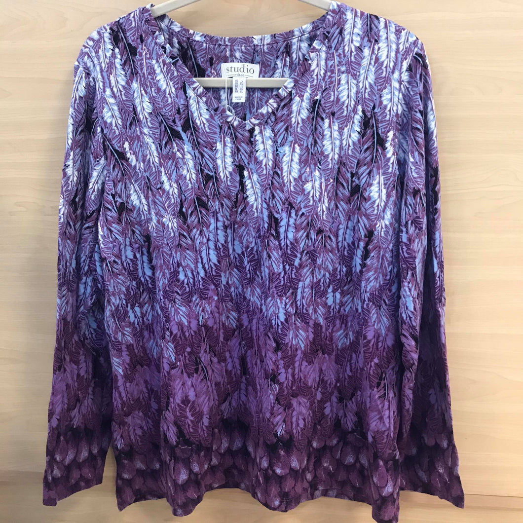 Studio by Denim & Co Feather Print V-neck Long Sleeve Top - Large