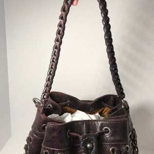 Patricia Nash Leather Drawstring Satchel - Outlet Express