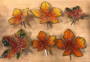 Set of 6 Harvest Beaded Decorative Leaf Clips by Valerie