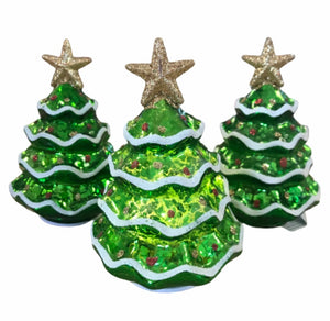 Set of 3 Illuminated Mercury Glass Christmas Trees