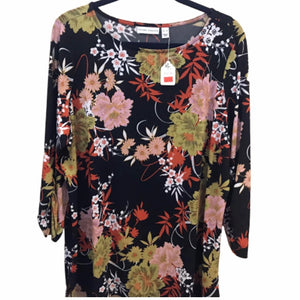 Susan Graver 3/4 Sleeve Printed Liquid Knit Tunic w/ Sparkle - Size XL