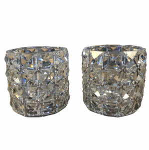 Illuminated Silver Faceted Glass Votives