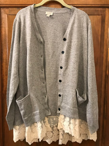 LOGO by Lori Goldstein Button Front Knit Cardigan with Lace Hem