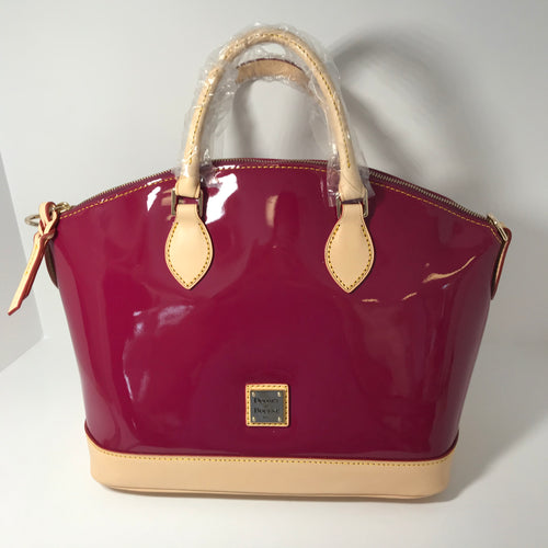 Dooney & Bourke Patent Leather Satchel with Vachetta Trim - Outlet Express