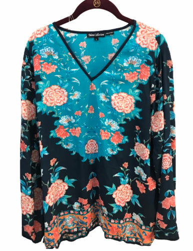 Tolani Collection V-neck Floral Woven Top - Large