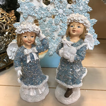 "Load image into Gallery viewer, Set of (2) 7"" Glistening Winter Angel Figurines by Valerie"