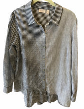 Load image into Gallery viewer, LOGO Woven Mixed Media Button Front Blouse - Small