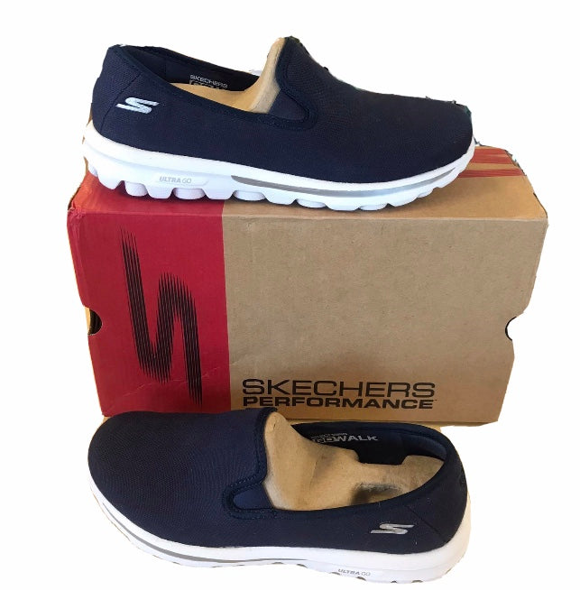 Skechers GoWalk Canvas Slip-on Shoes Navy 7 Medium - Outlet Express