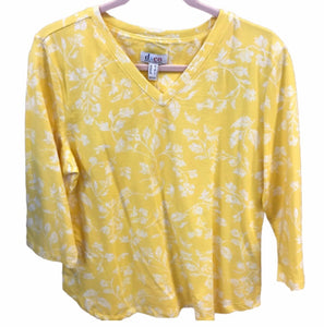 Denim & Co 3/4 Sleeve Printed V-neck Top - Medium