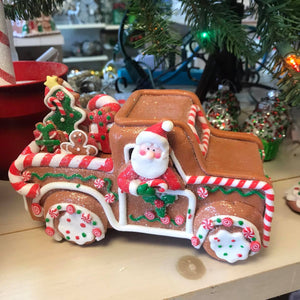 Illuminated Gingerbread Truck with Santa by Valerie