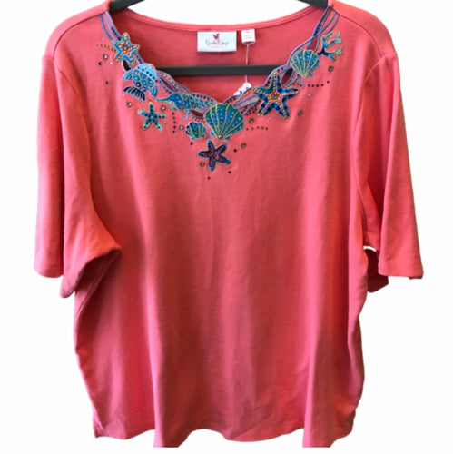 Quacker Factory Embroidered Seashell Top XL