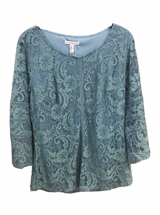 Isaac Mizrahi Live! Jasmine Tea Floral Lace Knit Top w/ Ladder Lace Details - Medium