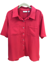 Load image into Gallery viewer, Susan Graver Pink Woven Short Sleeve Camp Shirt - Medium