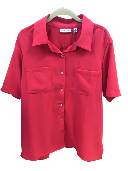 Susan Graver Pink Woven Short Sleeve Camp Shirt - Medium