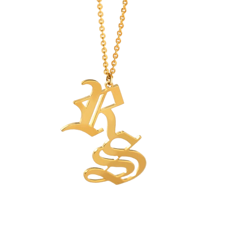 DOUBLE INITIAL OLD ENGLISH NECKLACE - THE SUN JEWELERS