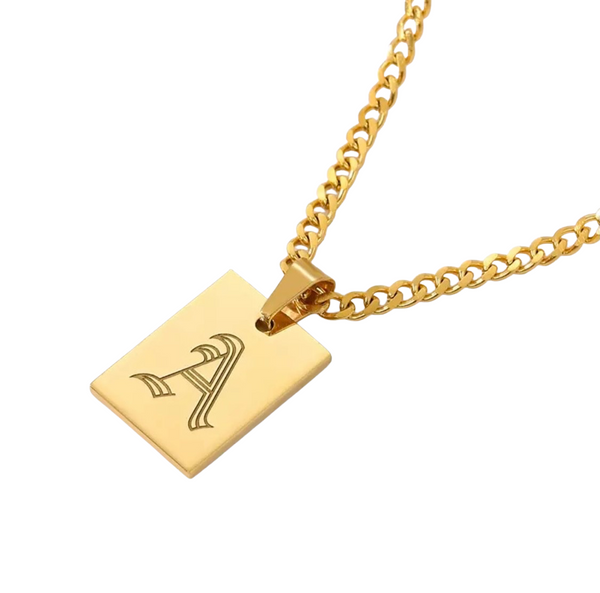 OLD ENGLISH INITIAL TAG NECKLACE