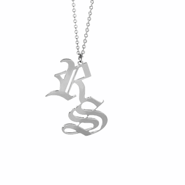 DOUBLE INITIAL OLD ENGLISH CUSTOM NECKLACE