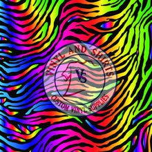 Load image into Gallery viewer, Rainbow Zebra Skin Patterned Vinyl / Printed 651 Vinyl / Printed Vinyl /Printed Outdoor Vinyl / Printed HTV/Printed Heat Transfer Vinyl
