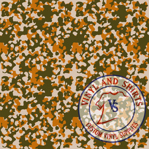 Light Orange Camo Patterned Vinyl / Printed 651 Vinyl / Printed Vinyl /Printed Outdoor Vinyl /Printed Heat Transfer Vinyl