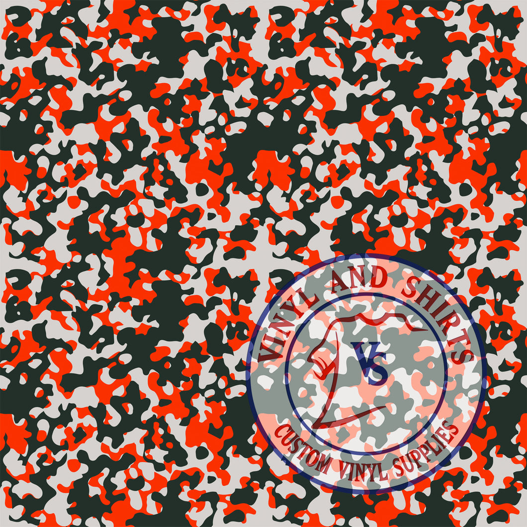 Orange Camo Patterned Vinyl / Printed 651 Vinyl / Printed Vinyl /Printed Outdoor Vinyl /Printed Heat Transfer Vinyl