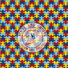 Load image into Gallery viewer, Autism Awareness puzzle Patterned Vinyl / Printed 651 Vinyl / Pattern Vinyl /Printed Outdoor Vinyl / Printed HTV/Printed Heat Transfer Vinyl