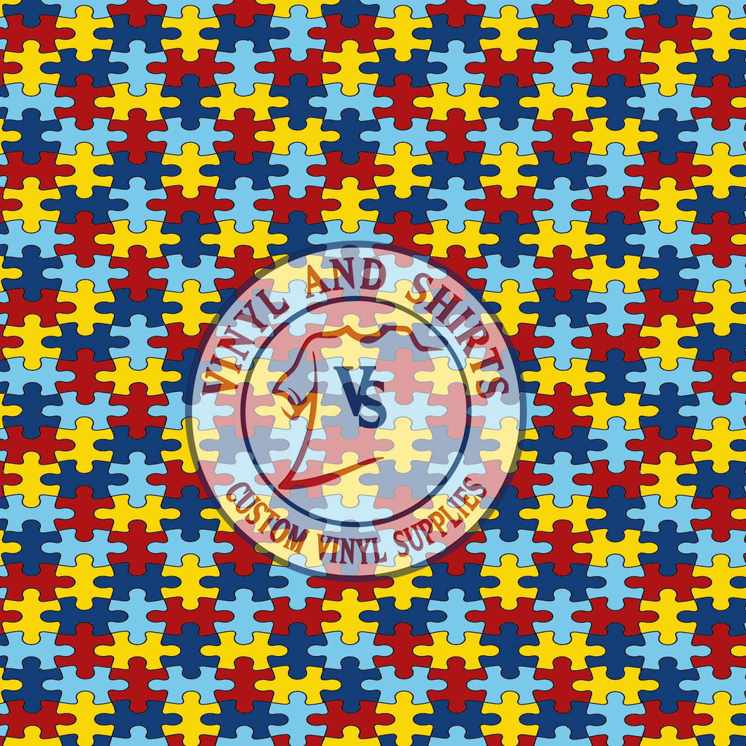 Autism Awareness puzzle Patterned Vinyl / Printed 651 Vinyl / Pattern Vinyl /Printed Outdoor Vinyl / Printed HTV/Printed Heat Transfer Vinyl